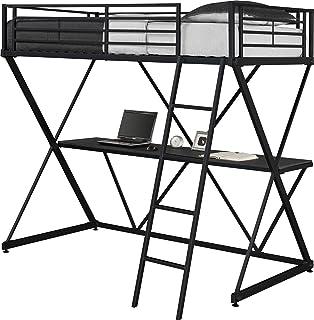 Amazon Com Abode Full Metal Loft Bed Over Workstation Desk Black