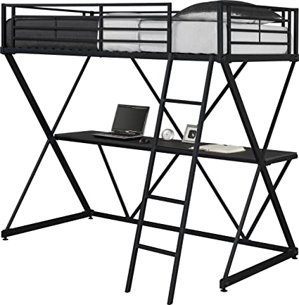 Amazon.com DHP X-Loft Metal Bunk Bed Frame with Desk - Space Saving Design - Twin Black Kitchen \u0026 Dining  sc 1 st  Amazon.com & Amazon.com: DHP X-Loft Metal Bunk Bed Frame with Desk - Space Saving ...