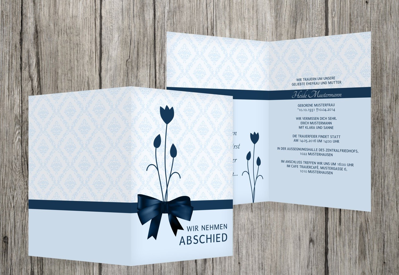 Tarjeta de luto lazo, MitternachtsBlau, 30 Karten