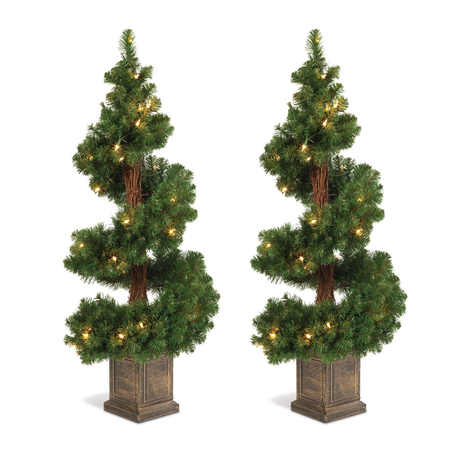 Set of 2 Lighted 3.5 Foot High Christmas Pine Topiary Trees in Base - Potted Entryway Trees Ten Waterloo