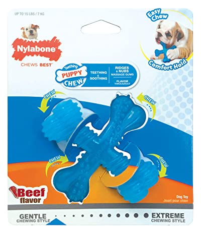 Nylabone Puppy Chew Gentle Chewing Puppy X Bone Small Beef Flavored Chew Toy
