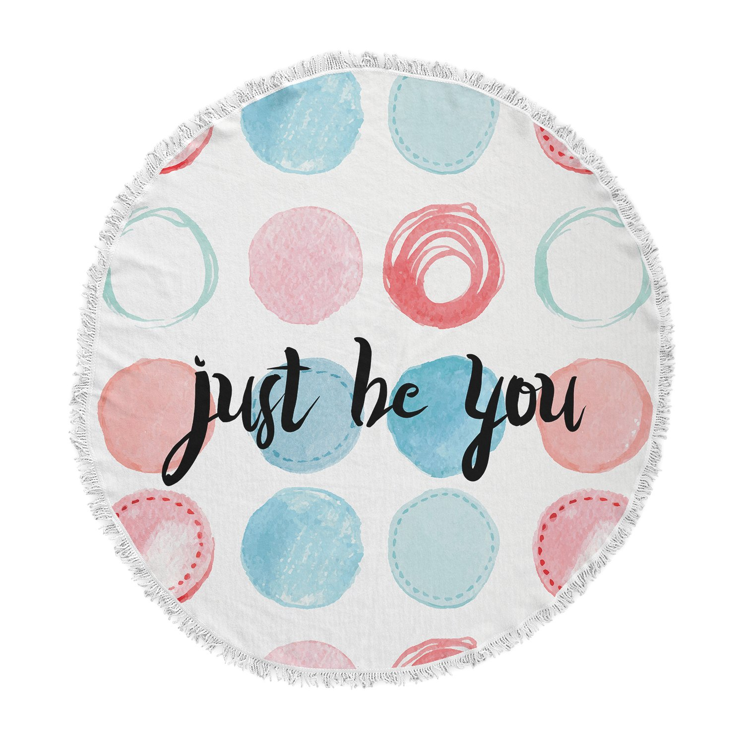 Kess InHouse Kess Original Just Be You Blue Pink Round Beach Towel Blanket