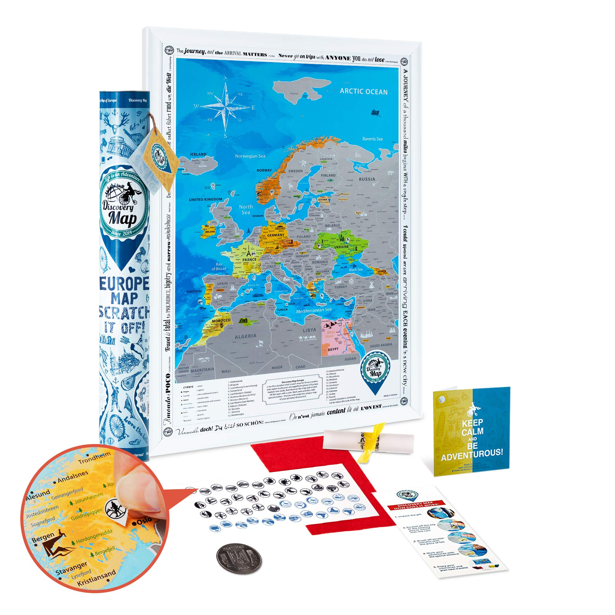 Scratch off Europe Map Poster - Large Detailed Europe Wall Map Scratch off 19x27 - Premium Silver Foil Europe Travel Map Scratch off - Discovery Map
