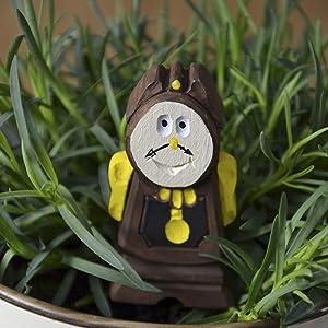 Cogsworth Mini Wood Figure for Mini Fairy Garden Handmade Craft Idea for Home Beauty and The Beast Disney Garden Landscape Decoration Cute Miniature Tiny Accessories Indoor Eco-Friendly Plant Décor