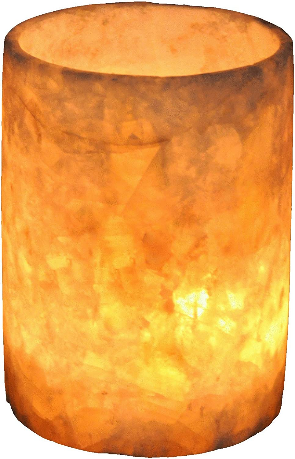 CraftsOfEgypt Single White Alabaster Candle Holder - Egyptian Tealight and Votive Candles Holders with Amber Glow for Home Décor - Natural Stone Soothing Tranquil