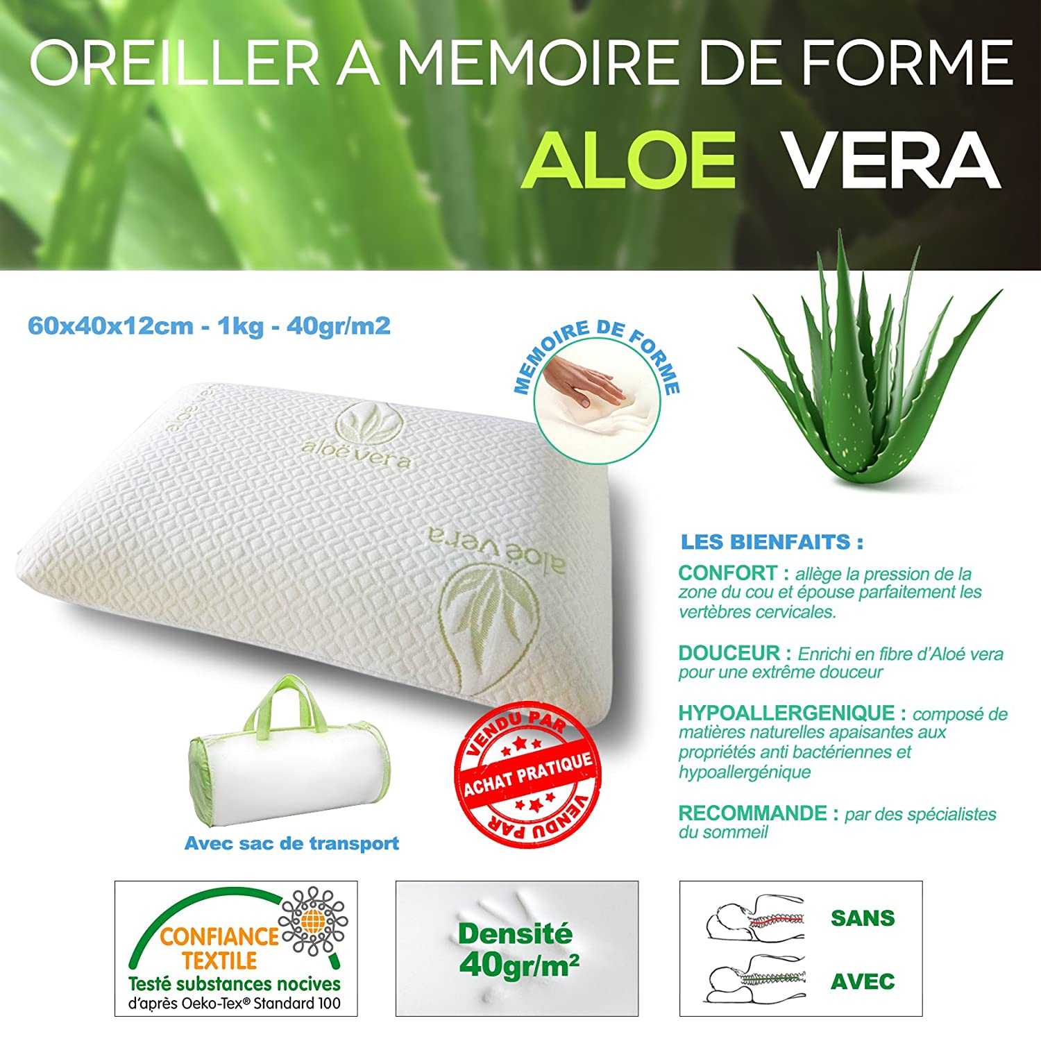 Memory foam pillow | Cover with Aloe Vera | Hypoallergenic Soft ...