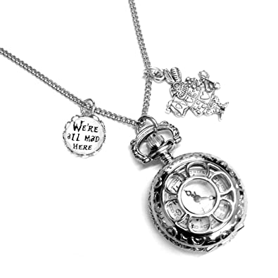 Alice In Wonderland Were All Mad Here Pocket Watch Necklace Amazon