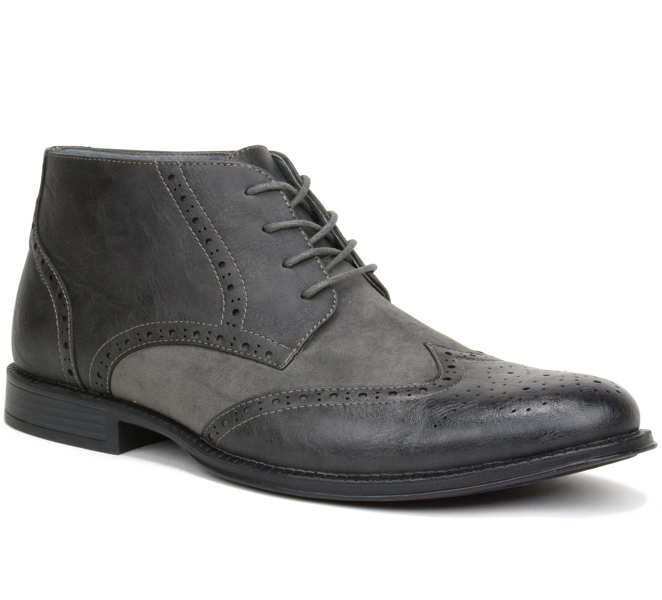 alpine swiss Men's Geneva Ankle Boots Brogue Wing Tip Dress Shoes, Gray, Size 8