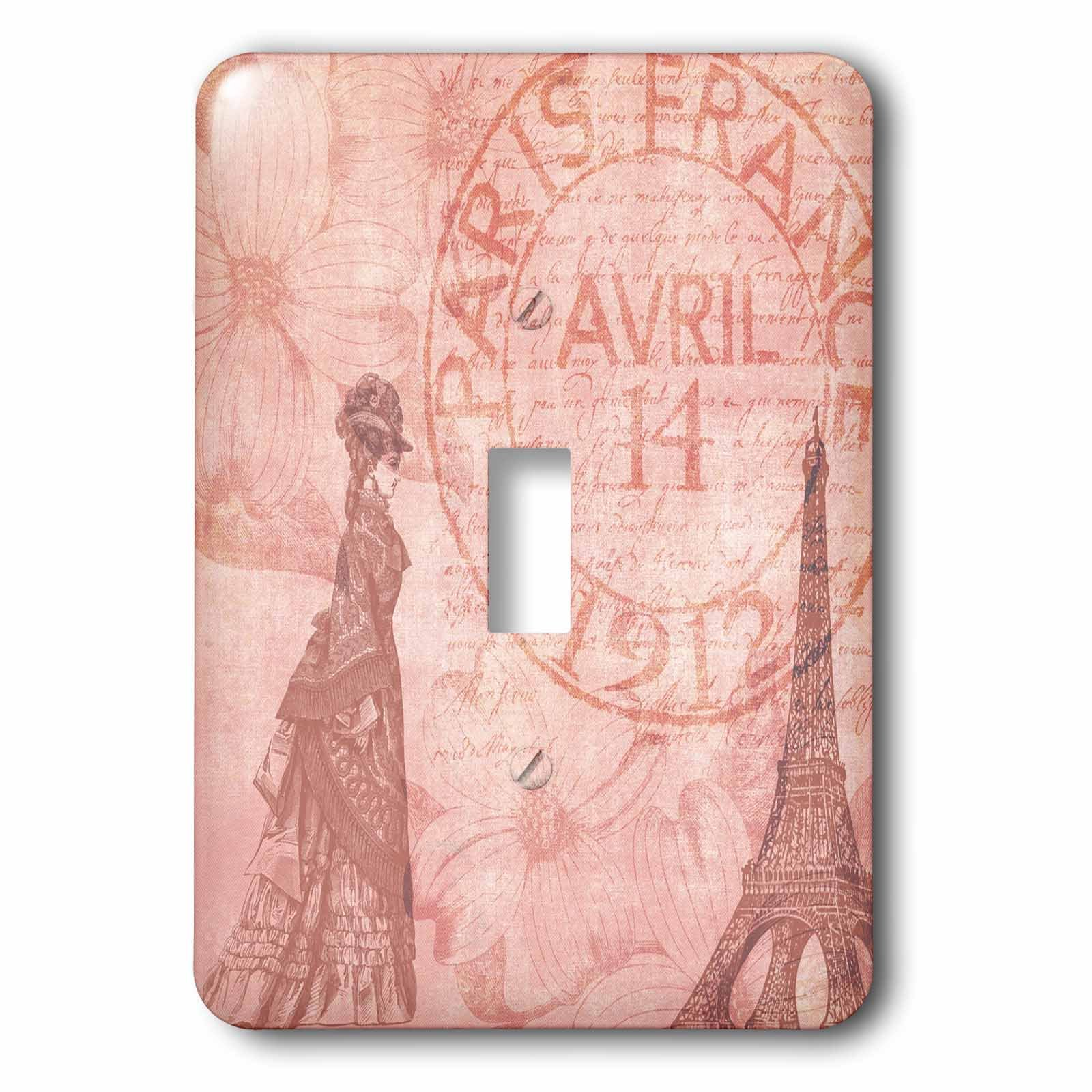 3dRose lsp_79365_1 Vintage French Lady in Paris with Eiffel Tower and Dogwood Flowers Single Toggle Switch