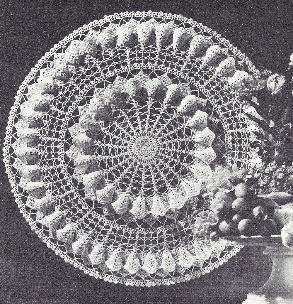 Vintage Crochet PATTERN to make - Doily Centerpiece Mat Magnolia Blossom  Design. NOT a finished