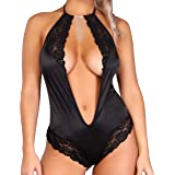 Panty Luk Estilo 925 Baby Doll Mujer Sexy Color Negro Tipo Body con Encaje Elegante Sensual Fina Lenceria Dama