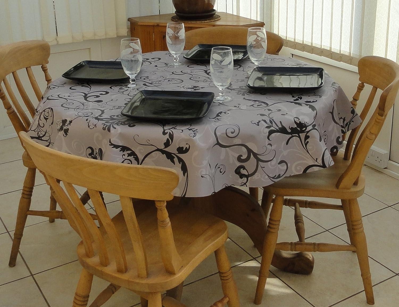 THE TABLECLOTH COMPANY GREY FLEUR 140cm ROUND PVC//VINYL TABLECLOTH