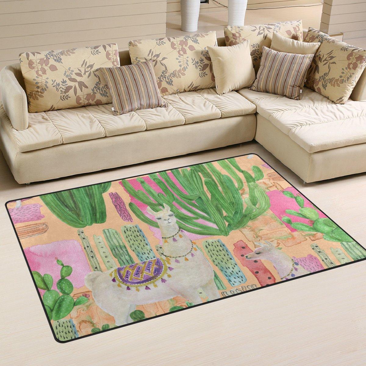 WellLee Area Rug, Watercolor Painting Tropical Llamas Cacti Floor Rug Non-Slip Doormat for Living Dining Dorm Room Bedroom Decor 60x39 inch WelllLee dtfh-001