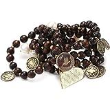 """Mercedes Salazar """"Multicharms"""" Set of 5 Adjustable Brown Beads Bracelet"""
