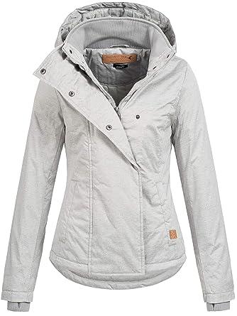 Sublevel Damen D5174X46550D Jacke Übergangsjacke mit Kapuze 13 Farben XS XL Dark Grey White Melange M