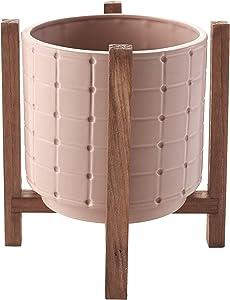 Ceramic Planter on Wood Stand - Indoor/Outdoor Decorative Pot - Pink