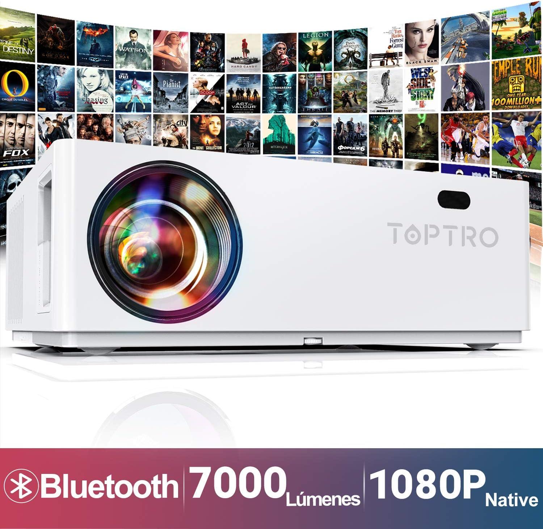 Proyector Bluetooth, TOPTRO 7000 Lúmenes Proyector Full HD 1080P Nativo 1920x1080 Soporta 4K y Dolby, Proyectores Cine en Casa con Pantalla Gigante de 350