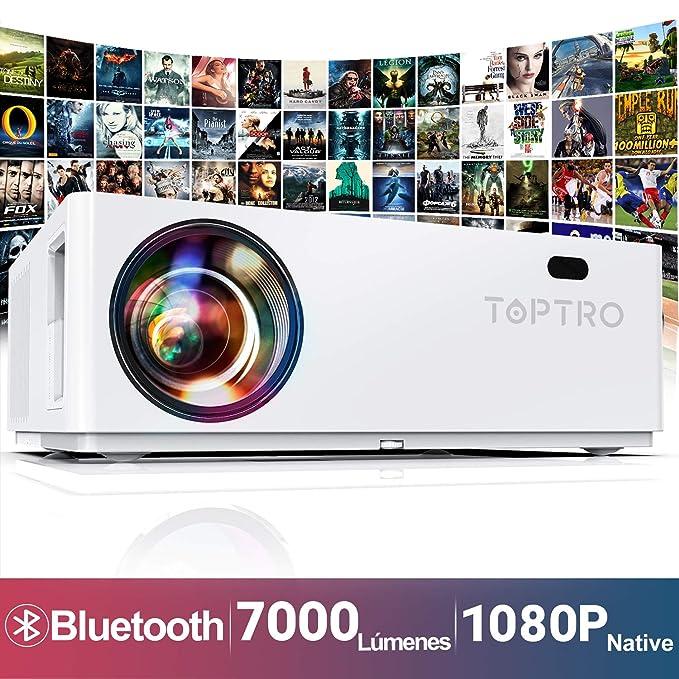 Proyector Bluetooth, TOPTRO 7000 Lúmenes Proyector Full HD 1080P Nativo 1920x 1080 Soporta Video 4K y Dolby, Proyectores Cine en Casa Pantalla Gigante de 350