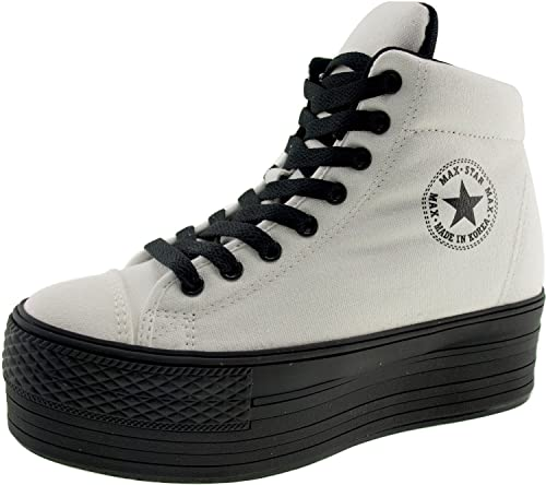 0c83c7d4d72a Maxstar C50 High-Top Taller Insole Dark Platform Zipper Sneakers Shoes  White UK Women 5