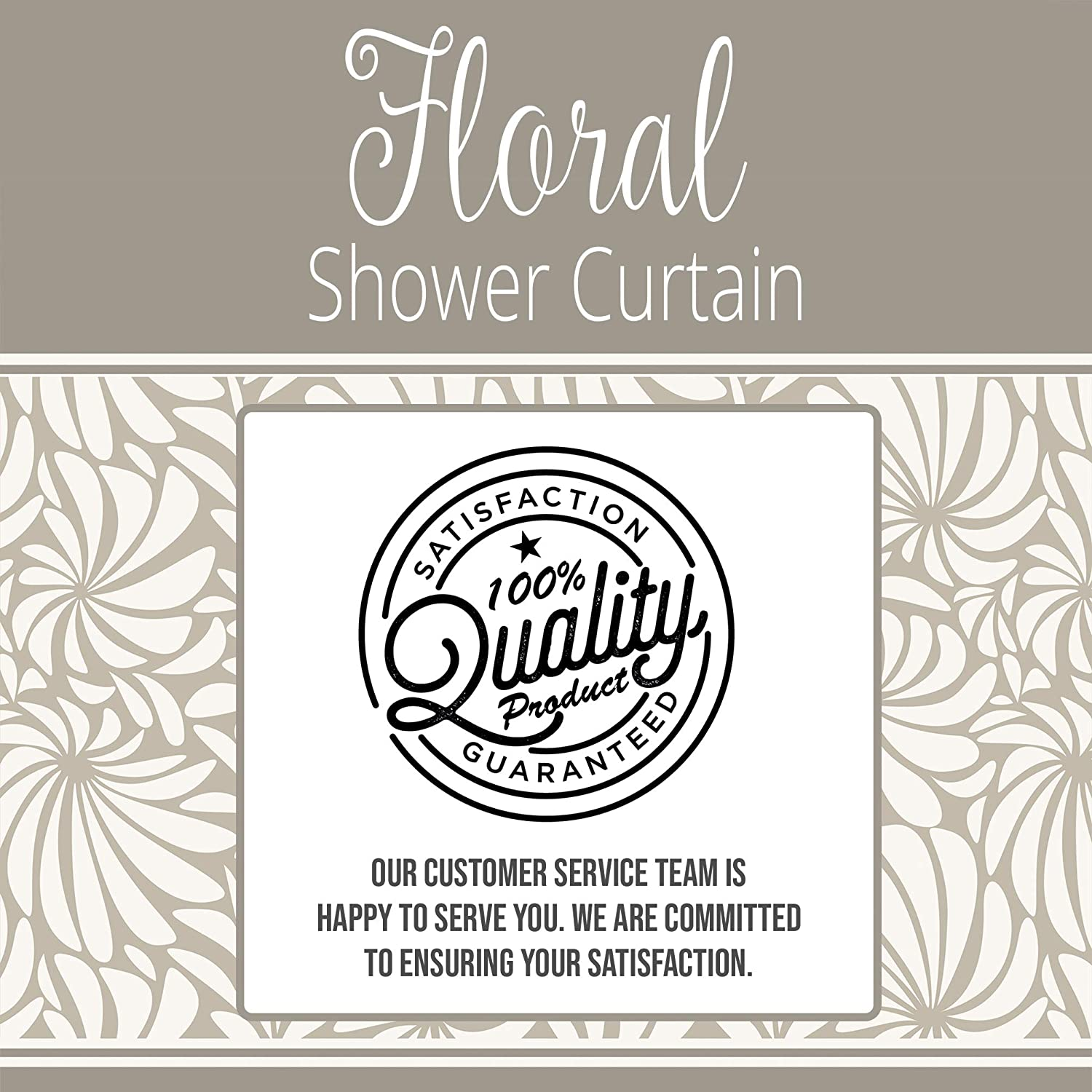 Abstract Flower Shower Curtain Dekali Designs Grey and White Shower Curtain with Floral Design Waterproof Mold-Resistant Fabric