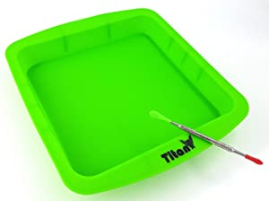 """TitanOwl Silicone Deep Dish Container Tray Cake Pan Aprox 8""""x8"""" + Carving Scrape Tool (Green)"""