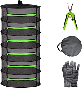 Herb Drying Rack Net 6 Layer 2ft Black Mesh Hanging Plant Drying Rack net with Green Zipper and Garden Gloves Weed Drying Rack with Pruning Scissors for hydroponic Plants