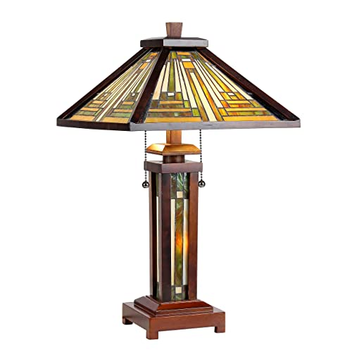 Chloe CH33359WM15-DT3 15 Shade Tiffany-Style 3 Light Mission Double Lit Wooden Table Lamp