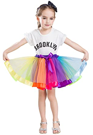 efe3df84c576a Buenos Ninos チュチュスカート キッズ Rainbow カラフル 子供 TUTU3層チュールスカート パニエ 可愛い ダンスドレス
