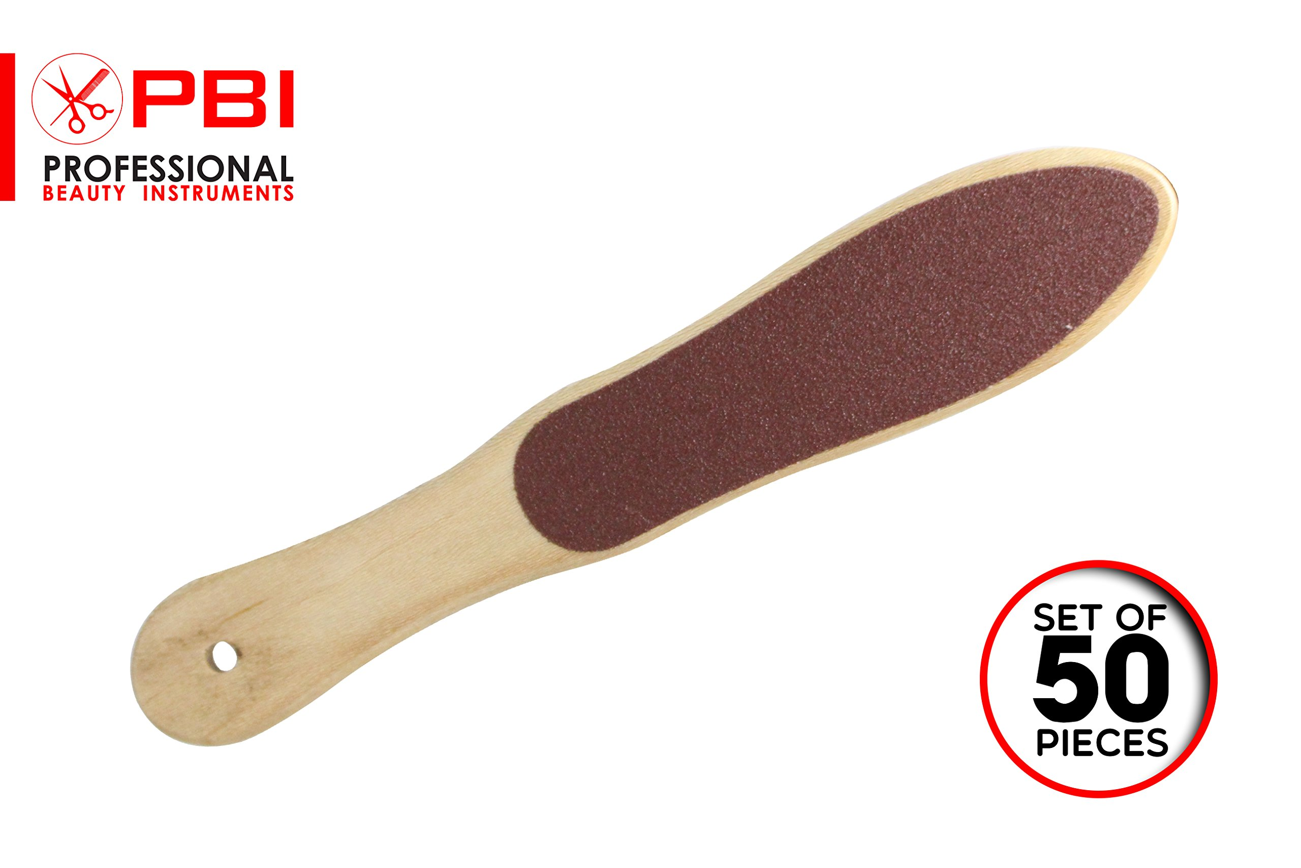 Foot Rasp - Callus File - Foot Scrubber - Pedicure File - Double Sided Foot File - Light Weight Wooden Foot File - 10.2 inch - 50 pieces set from PBI