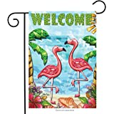 "Flamingo Beach Summer Garden Flag Welcome Tropical Palm Trees 12.5"" x 18"""