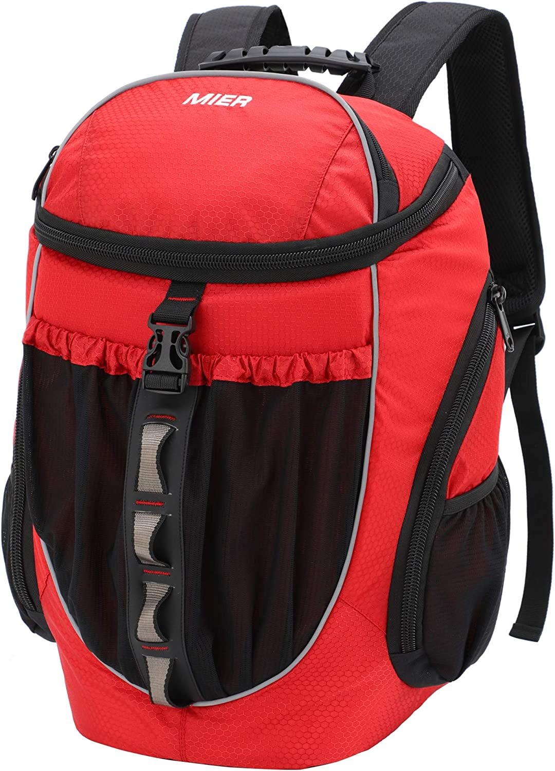 MIER Leakproof Backpack Cooler Men Women Insulated Backpack with Cooler Compartment for Lunch, Hiking, Beach, Picnic, Travel, Work, Multiple Pockets, 20 Can, Red