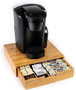 Bamboo mind reader k cup holder/storage, bamboo drawer storage, K- cup holder, bamboo leaf tea box, wooden k cup organizer, kcup storage dispenser, coffee cup drawer organizer