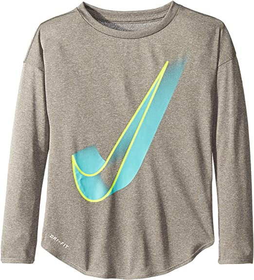 151e29a4 Nike Kids Girl's Interstellar Swoosh Long Sleeve Tee (Little Kids) Dark  Grey Heather 5