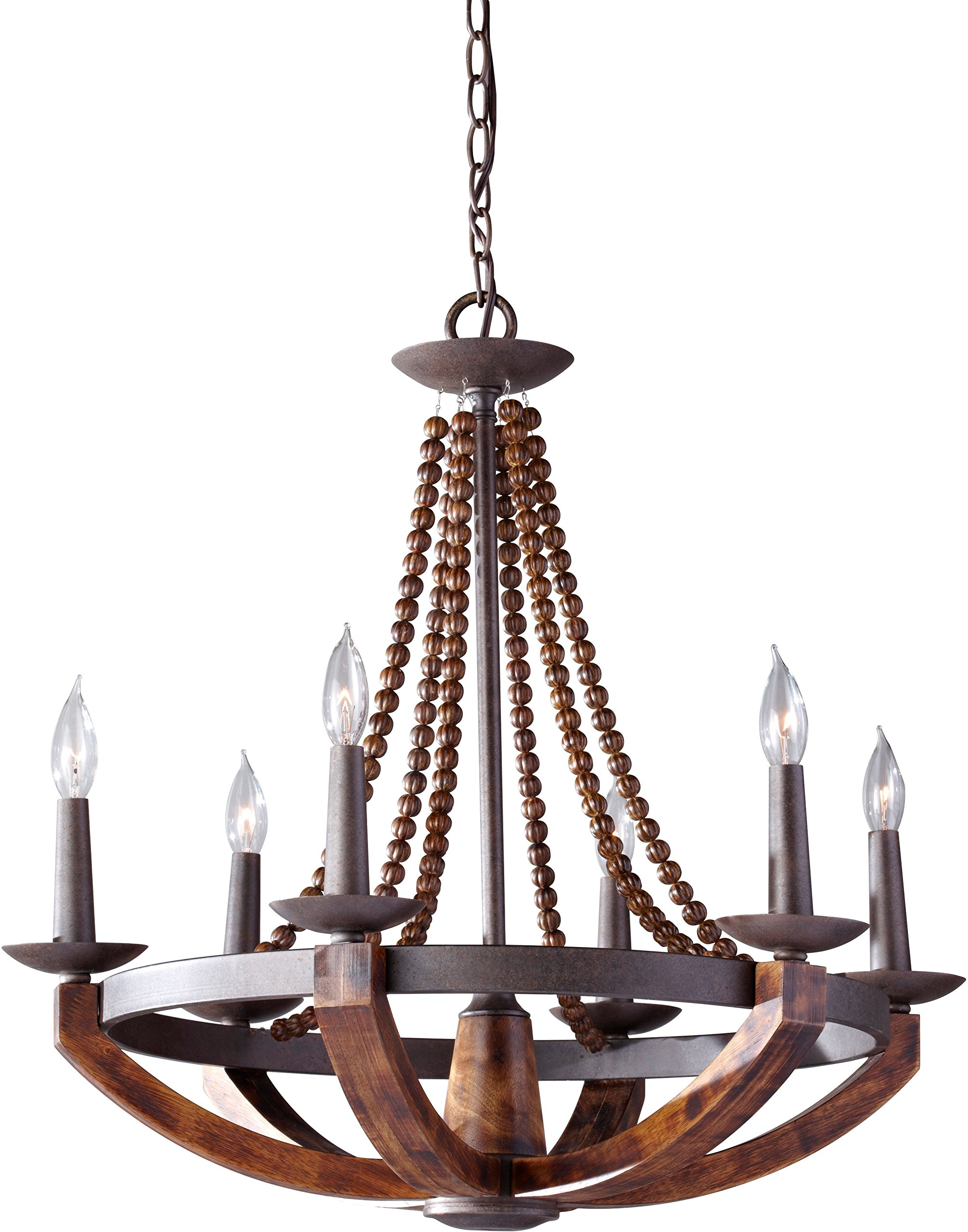 "Feiss F2749/6RI/BWD Adan Candle Chandelier Lighting, Iron, 6-Light (26""Dia x 26""H) 360watts - ADAN CHANDELIER DIMENSIONS: 25.75"" Height x 26.38"" Width (Canopy: 1""H x 5.06""W) Weight 12.54lbs LIGHT: 6-60 Watt Candelabra B-Type Lights, Bulbs Not Included, 360 Total Watts Included Chain: (1) 60"" in Rustic Iron Finish, Wire: 180"" Brown Wire - kitchen-dining-room-decor, kitchen-dining-room, chandeliers-lighting - 81WL5ulbtPL -"