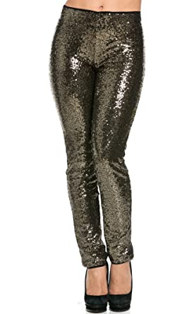 82f3fcd12b5 SOHO GLAM Black and Gold Allover Sequin Party Pants (Plus at Amazon ...
