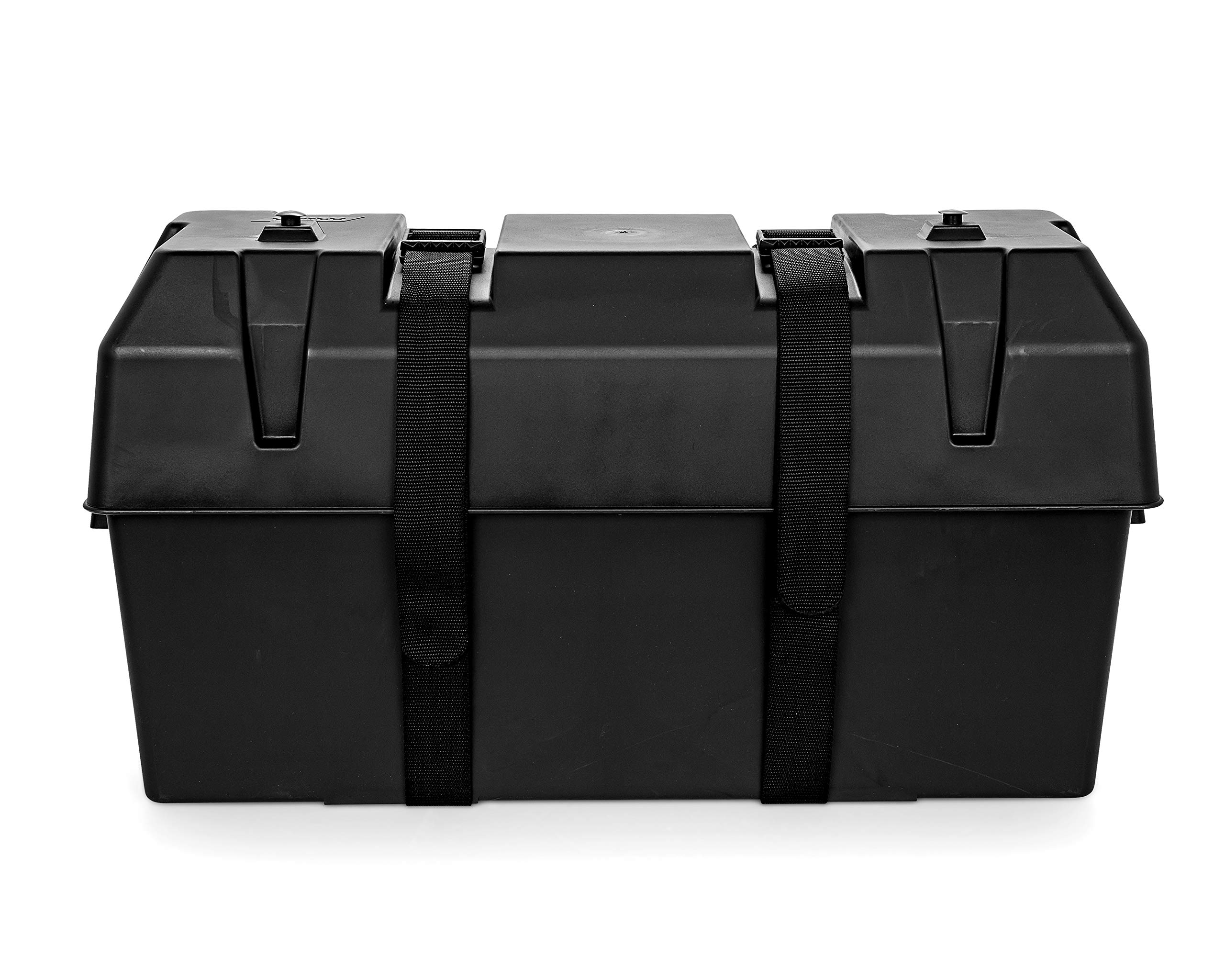 Camco Heavy Duty Double Battery Box with Straps and Hardware - Group GC2 | Safely Stores RV, Automotive, and Marine Batteries |Durable Anti-Corrosion Material | Measures 21.5'' x 7.4'' x 11.2'' - (55374) by Camco