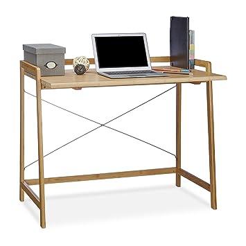 Relaxdays Schreibtisch Holz, Moderner Computertisch Mit Kreuzstrebe Für  Jugendliche, Bambus, HBT 80 X