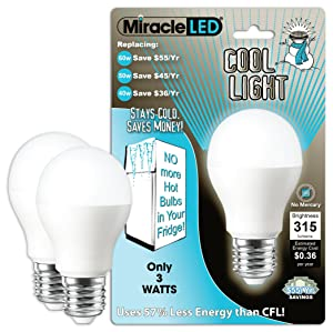Miracle LED 604724 3-watt Refrigerator and Freezer Light, Long Life Energy Saver Bulb, Cool White, 2-Pack