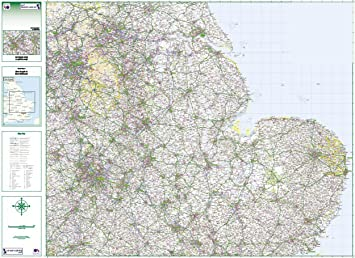 Map Of East Uk.Road Map 5 East Midlands East Anglia Colour Standard Matte