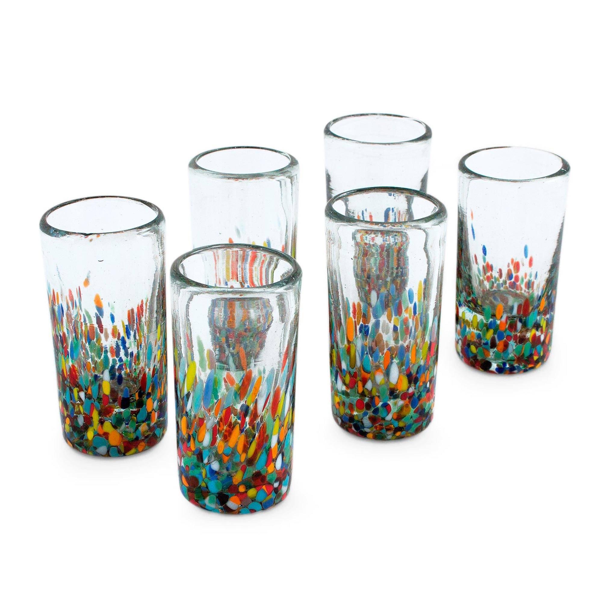 NOVICA Hand Blown Recycled Glass Confetti Shot Glasses, 2 oz 'Carnival' (set of 6)