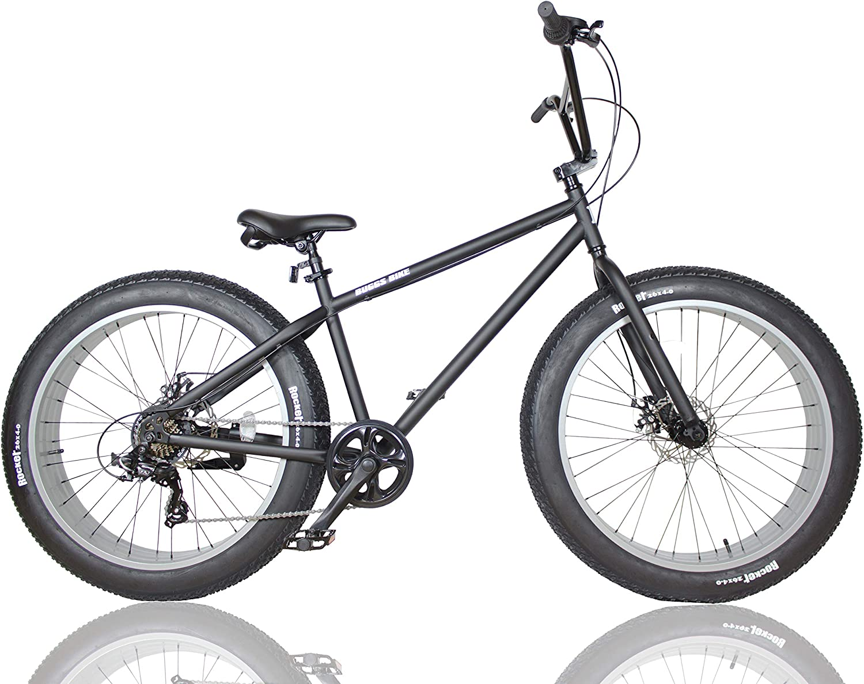 ファットバイク FAT BIKE 26インチ 6段変速ギア付き ブラック/グレー