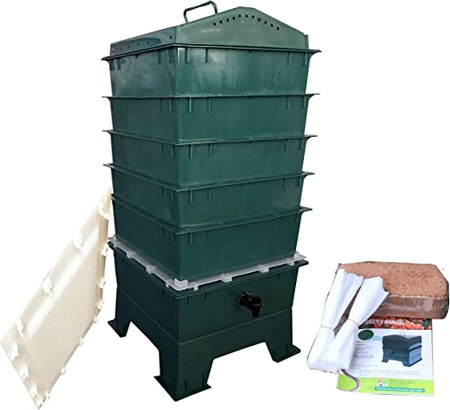 VermiHut 5-Tray Worm Compost Bin, Dark Green with Free Worm-saver Tray