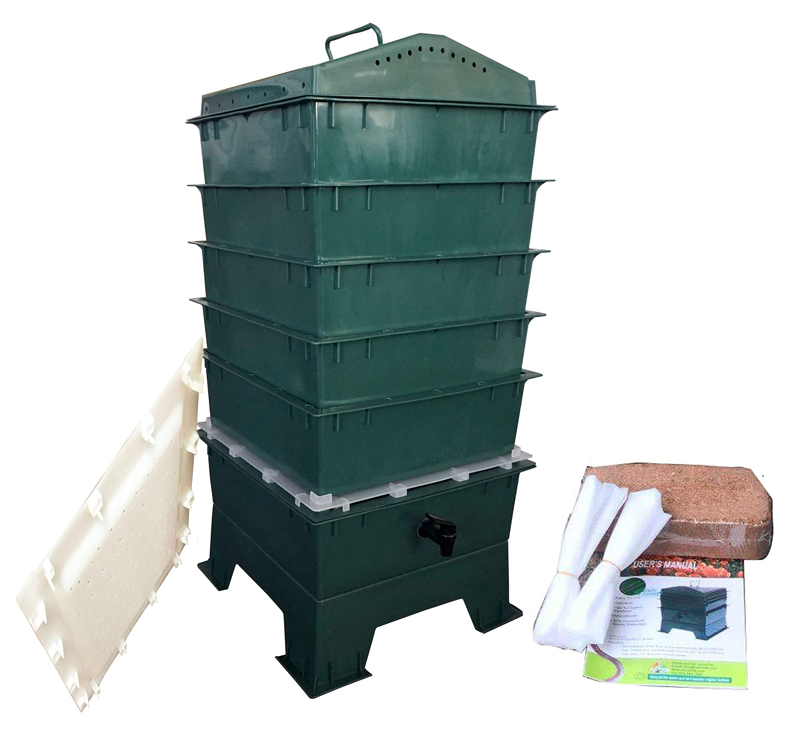 VermiHut 5-Tray Worm Compost Bin, Dark Green with Free Worm-saver Tray product image