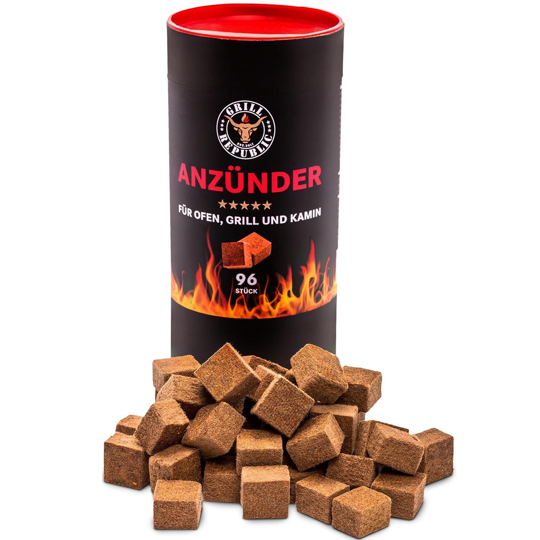 Accendifuoco per forno a legna, camino e griglia, cubetti accendifuoco ecologici in legno e cera che bruciano molto a lungo, inodore e non inquinanti Fire & Flame