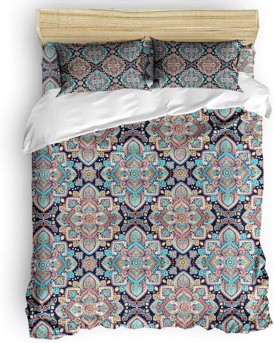 Amazon Com Bedding Cover With Zipper Closure Indian Floral Budapest Pattern Duvet Cover Set Luxury Microfiber Down Comforter Quilt Modern Style For Men And Women King Kitchen Dining