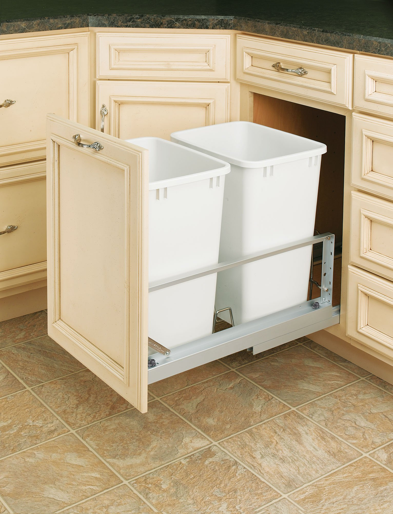 Rev-A-Shelf - 5349-18DM-2 - Double 35 Qt. Pull-Out Brushed Aluminum and White Waste Container by Rev-A-Shelf