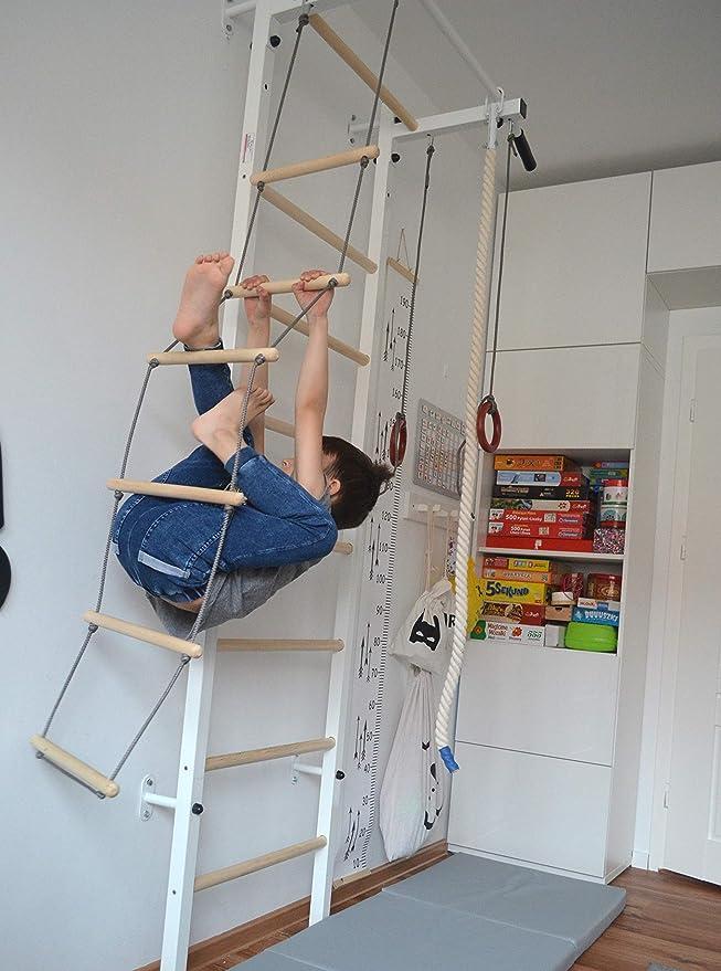 Espaldera de gimnasia Junior para los niños, gimnasia anillos, gimnasia de madera escalera de cuerda, gimnasia de la cuerda, Espaldera infantil, gimnasia subir Espaldera, barra de pull-up.: Amazon.es: Deportes y aire libre
