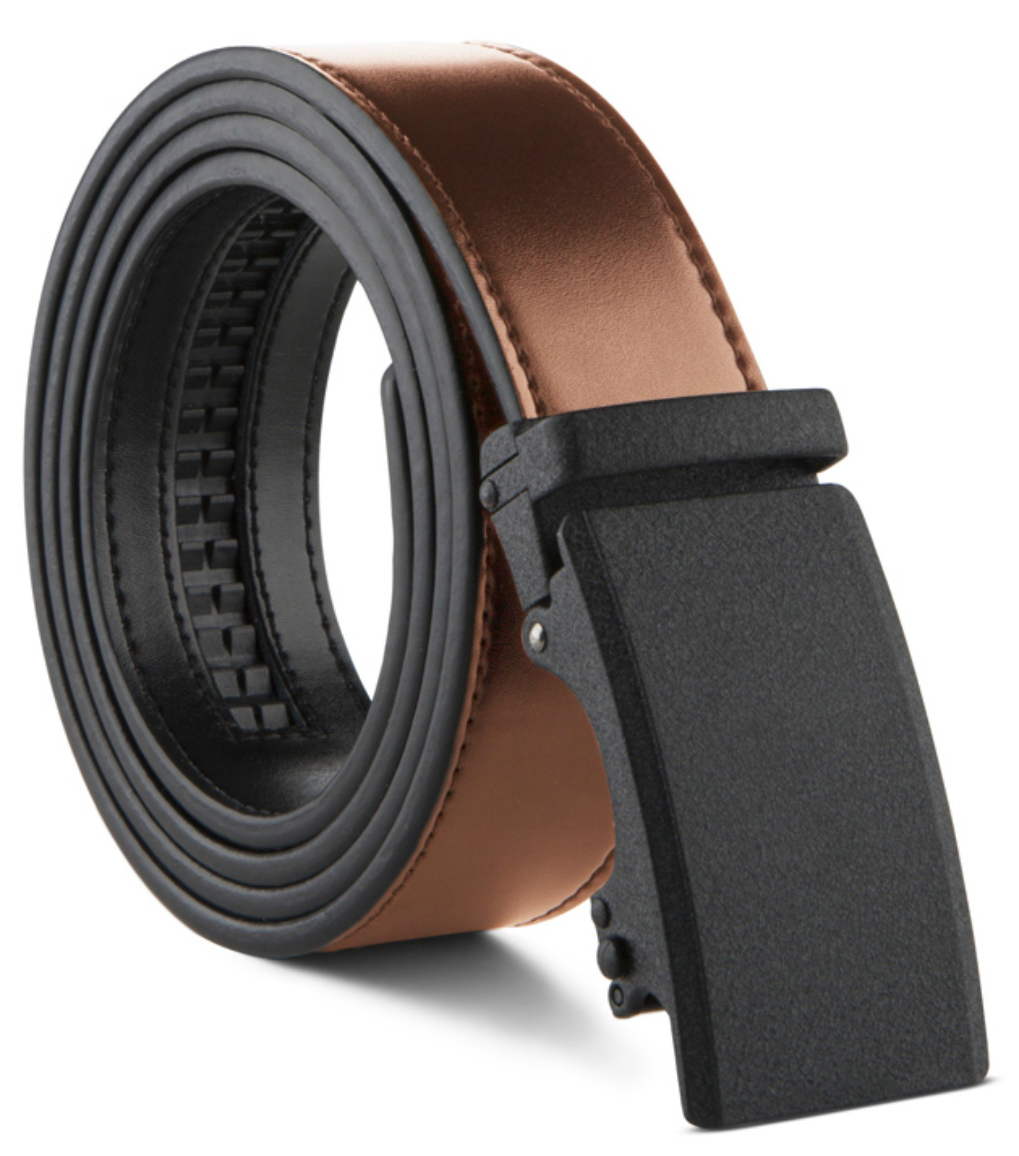 Men's Genuine Leather Ratchet Dress Belt Custom Fit, Automatic Buckle, No Hole