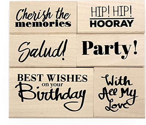 Birthday Wood Mounted Rubber Stamp Set of 6