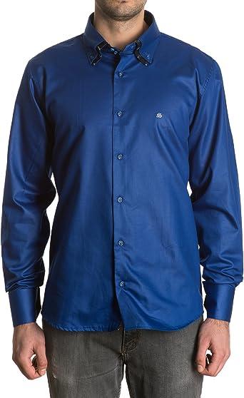 Sinigual - Camisa Lisa De Hombre Con Puños Reversibles, Doble Cuello Abotonado Y Cierre De Dos Botones Color Tinta, Talla 3Xl: Amazon.es: Ropa y accesorios